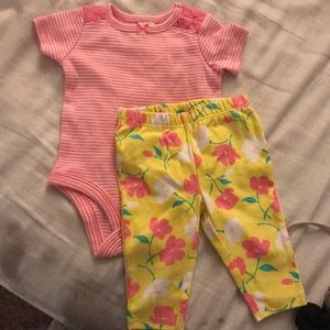 Newborn pink and yellow spring/summer outfit